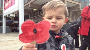 The young and old doing their bit to promote this year's poppy appeal