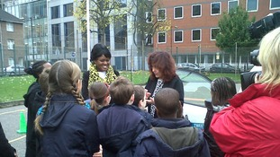 Grace Idowu and Margaret Mizen talk to children at English Marty's school in Wapping to mark their 100 days of peace campaign.