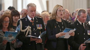 Home Secretary Amber Rudd (right) was among the dignitaries at the service