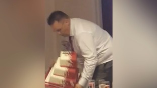 Screams of horror as father of the bride drops wedding cake during speech