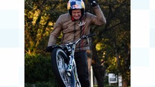 Dougie Lampkin's wheelie round the Isle of Man