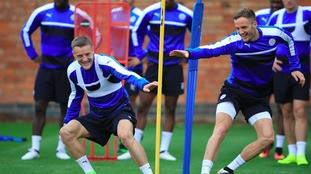 Leicester City players in training ahead of Porto game