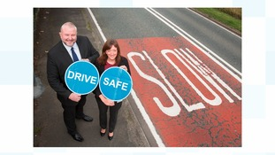 Road Safety GB North East Chairman Paul Watson and Gateshead Council's Road Safety Officer Angela Burnett urge drivers to take it easy