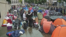 Protest camp outside Art Gallery in Leeds city centre