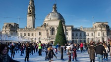 The Winter Wonderland ice rink outside City Hall