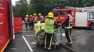 Five people taken to hospital after acid spill