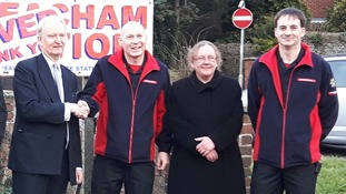 Tracey Swann pictured with local MP Sir Henry Bellingham and other campaigners who fought to save Heacham Fire Station