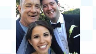 Tom Hanks with newlyweds