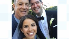 Tom Hanks with newlyweds