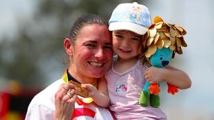 Sarah Storey and daughter