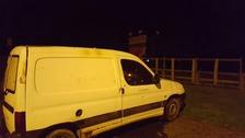 A white van was burnt out in Carryduff on Monday night.