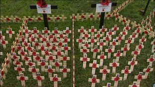 The Field of Remembrance made up of crosses to mark the fallen