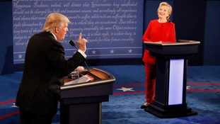 US presidential candidates Donald Trump and Hillary Clinton during their first debate
