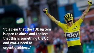 Chris Froome urges UCI and WADA to 'urgently address' therapeutic use exemption system which is 'open to abuse'