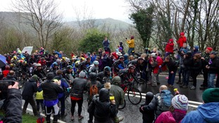 Riders climb Sutton Bank during stage three of the Tour de Yorkshire in May.