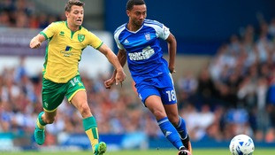 Ipswich Town midfielder Grant Ward (right) in action against Norwich City in the SkyBet EFL Championship in August