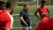 Arsenal twerk during train session with James Corden