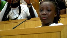 Zianna Oliphant cried during her speech.