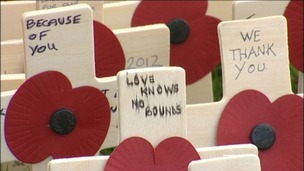 Crosses have been laid to thank and remember forces who have given their lives