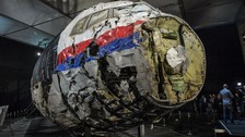 Reconstructed wreckage of MH17