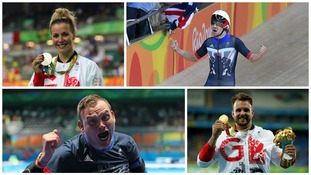 Clockwise from top left: Becky James, Owain Doull, Rob Davies, Aled Sion Davies