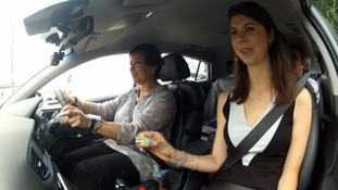 Our reporter Jane Solomons taking the world's first Driving Emotion Test
