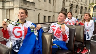 Bryony Page and Nile Wilson show off their medals