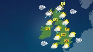 Sunny spells and scattered showers
