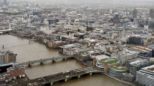 A view across the River Thames towards St Paul's Cathedral from the Shard