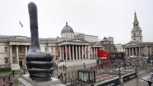Giant thumbs up unveiled as 11th artwork to sit on Trafalgar Square's Fourth Plinth