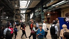The scene inside Hoboken station following the crash.