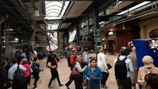 The scene inside Hoboken station following the crash.