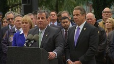 Governor of New Jersey, Chris Christie, and governor of New York, Andrew Cuomo, at a presser.