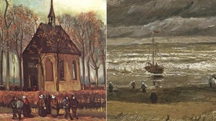 Congregation Leaving the Reformed Church in Nuenen, left, and View of the Sea at Scheveningen were stolen in 2002.