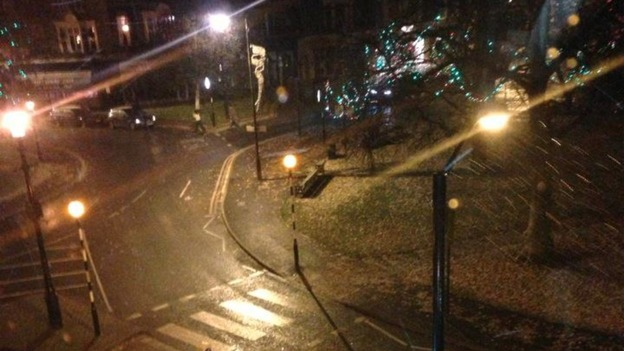 Snow started falling in Harrogate late last night