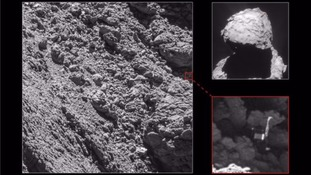 The lost Philae lander got wedged into a crack the comet.