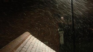 Heavy snow falling in Gosforth last night.