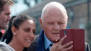 Sir Anthony Hopkins taking a selfie with fans in Gosport yesterday