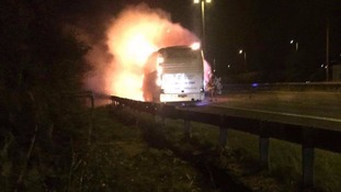 Lucky escape after bus catches fire on M62