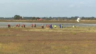 Rescue teams at Breydon Water in Great Yarmouth.