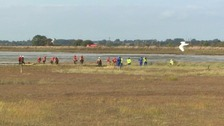 Rescue teams at Breydon Water in Great Yarmouth.
