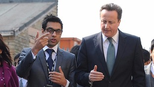 Then Prime Minister David Cameron with headteacher Sajid Hussain Raza from Kings Science Academy.