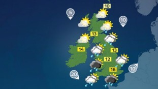 Mostly dry with sunny spells and isolated showers for some
