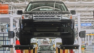 A Jaguar Land Rover Freelander 2 pictured on a production line.