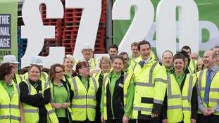 The then Chancellor George Osborne visits a store they day the Living Wage was introduced