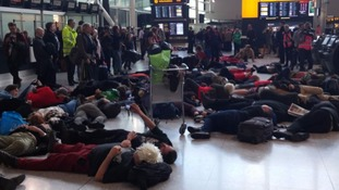 Reclaim the Power stage flashmob at Heathrow against airport expansion