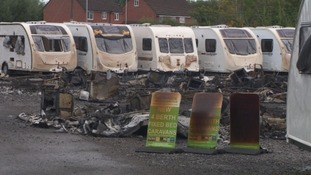 At the scene: destruction after caravan centre fire