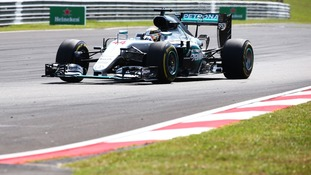 Hamilton was leading the race in his Mercedes car