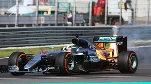 Lewis Hamilton was forced to withdraw from the race.