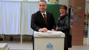 Prime Minister Victor Orban casts his ballot